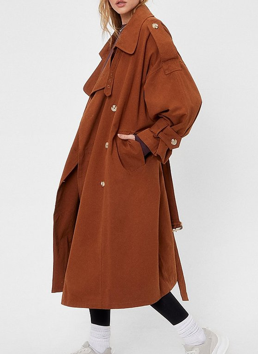 nasty gal brown trench coat