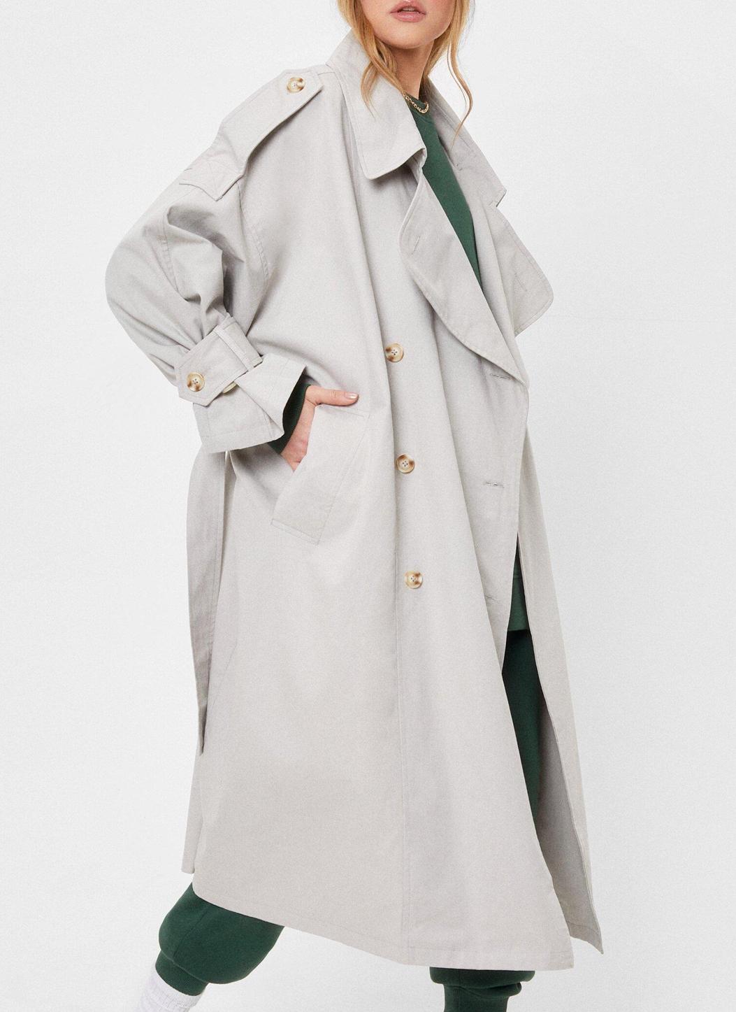 nasty gal grey trench coat