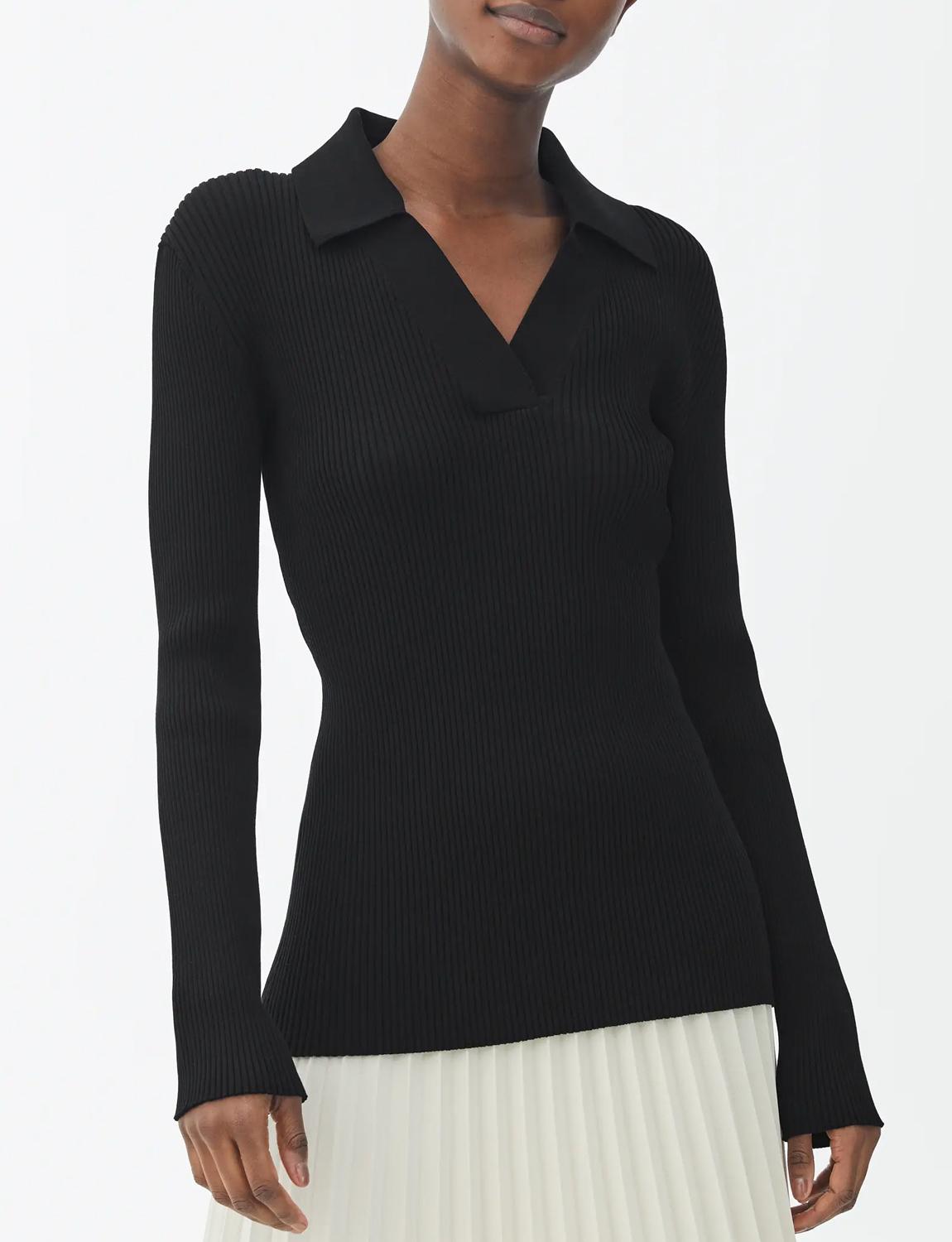 black open collar top