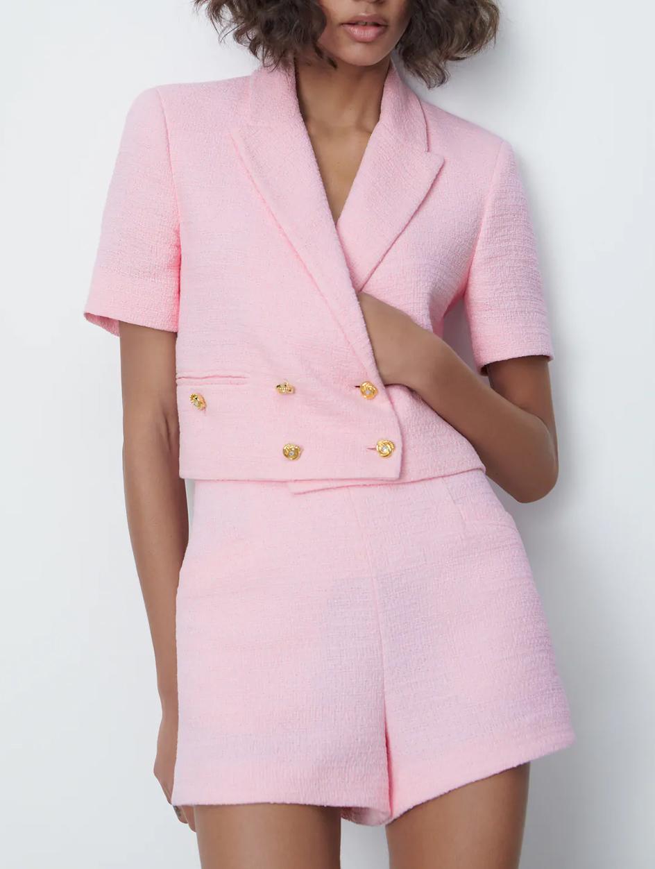 textured pink co ord zara