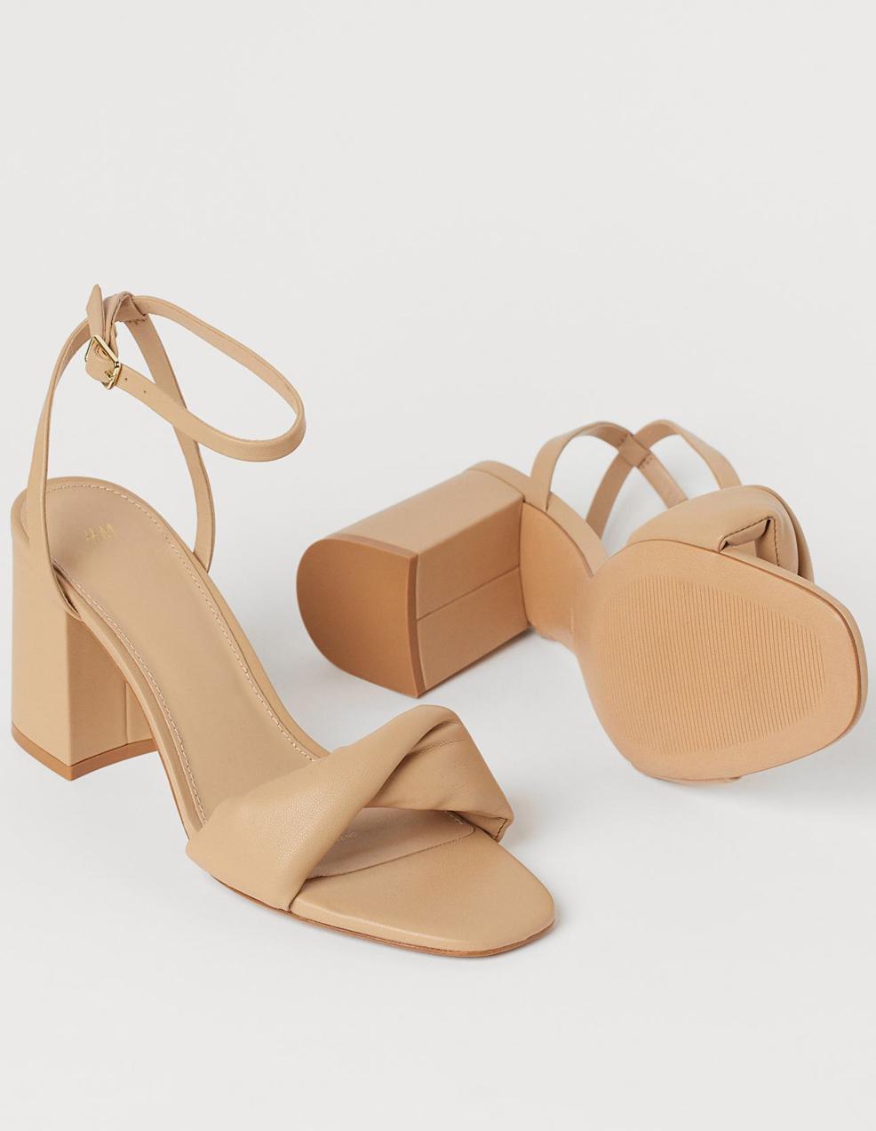 beige block heeled sandals h&m
