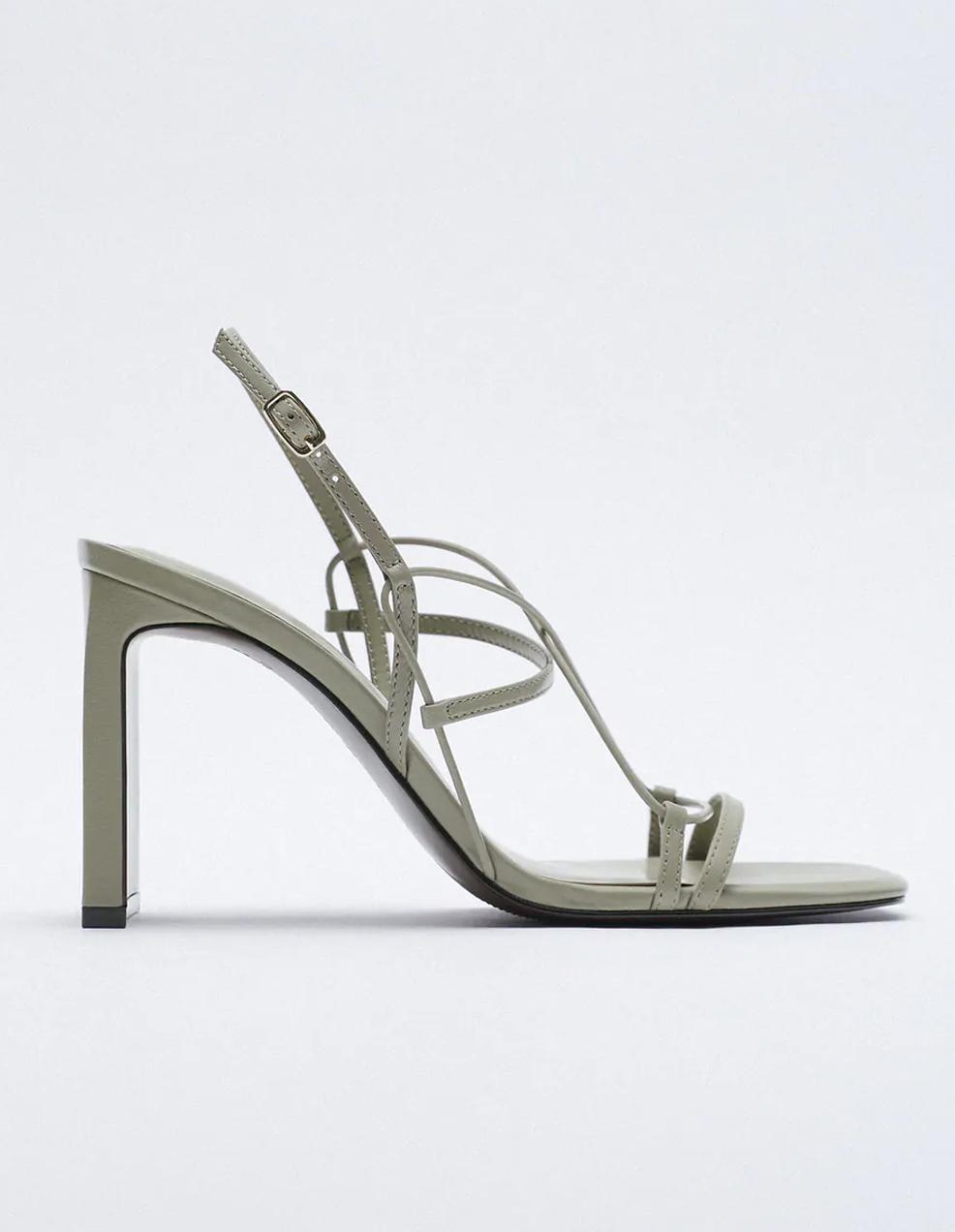 khaki leather heeled sandals