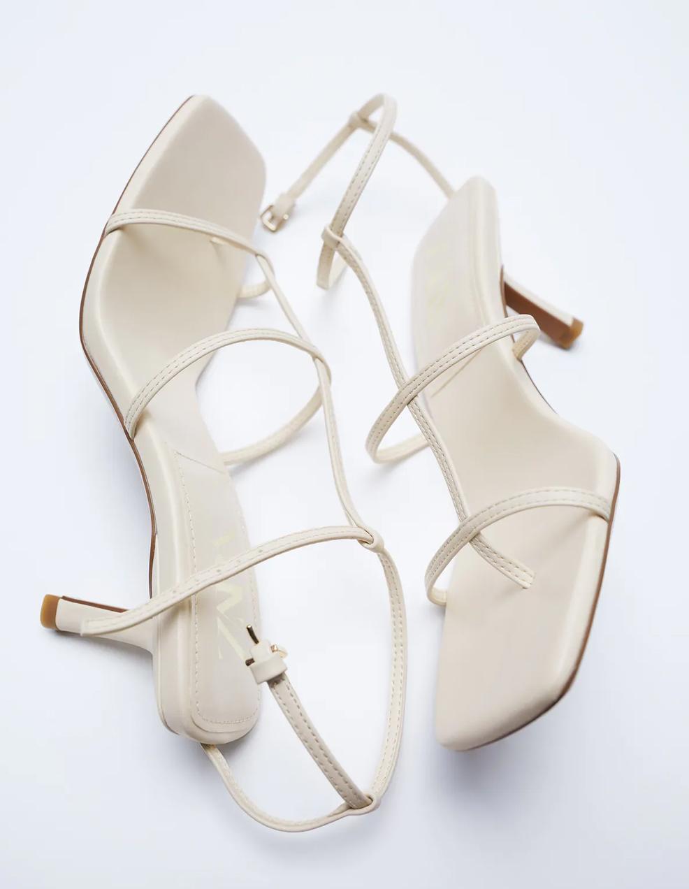 white heeled sandals zara