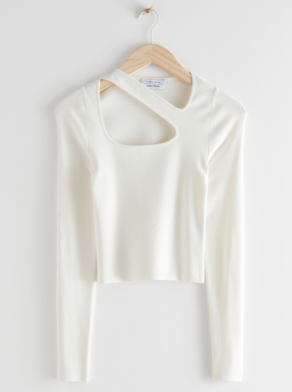 white cut out top