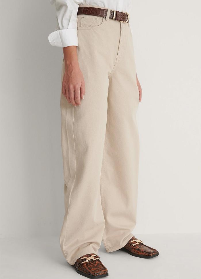 beige wide leg jeans