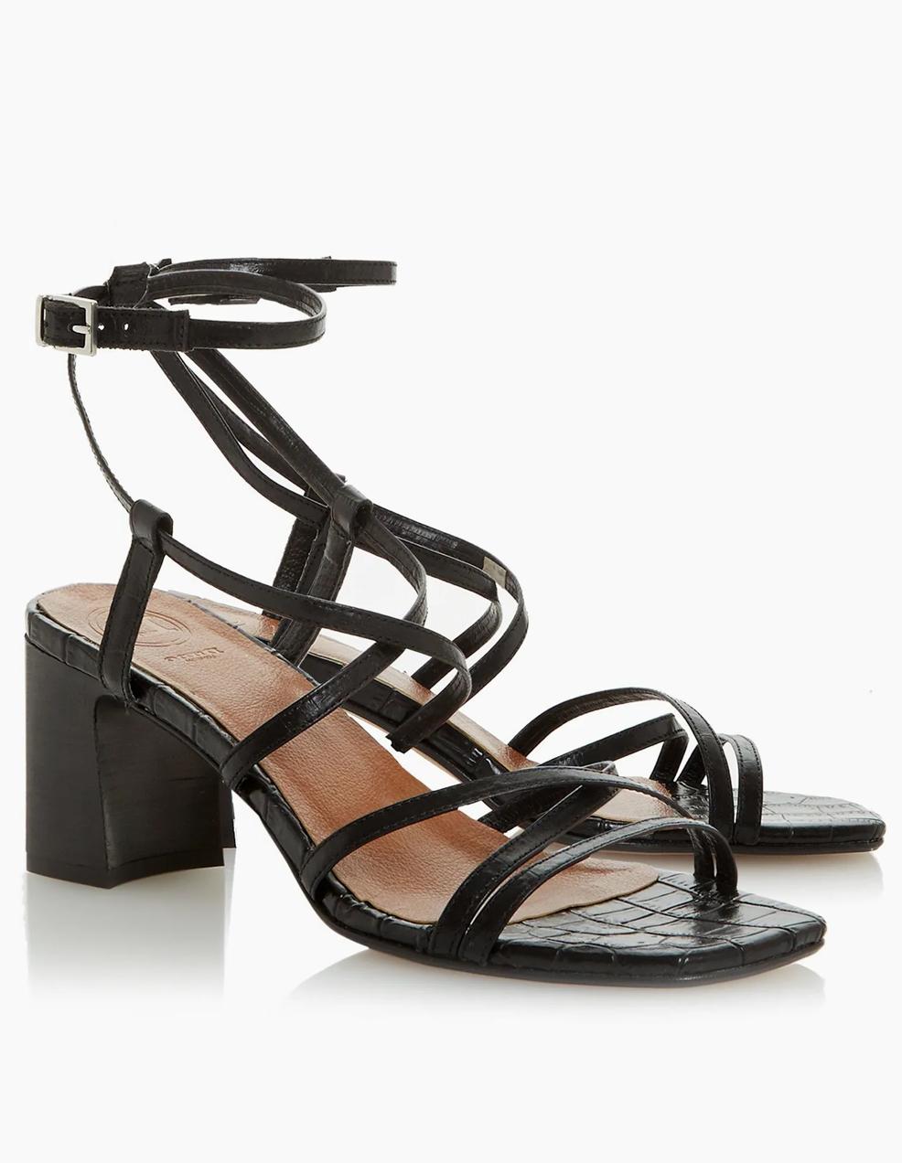 black heeled sandals dune