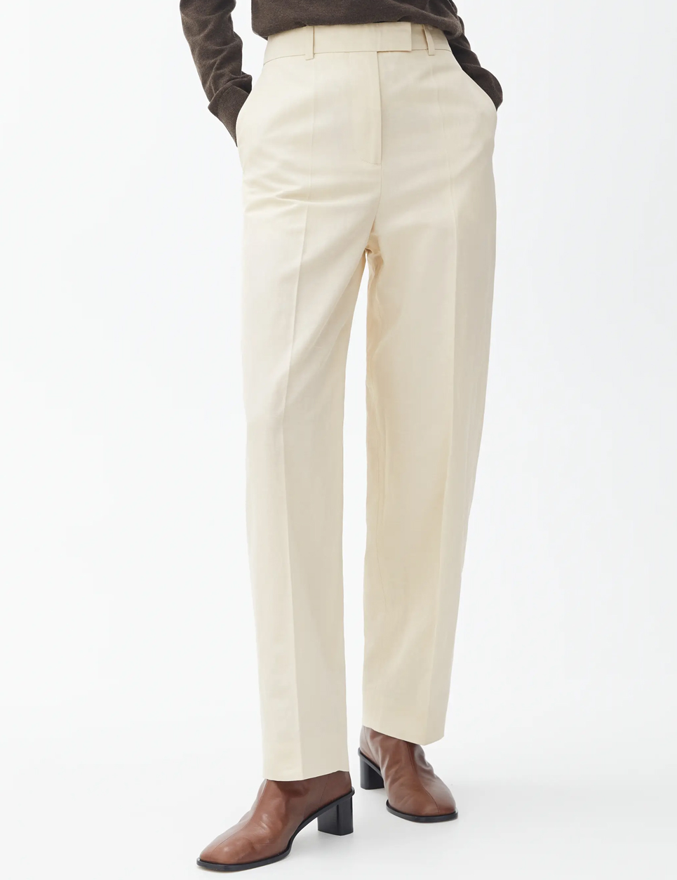 tapered beige trousers arket