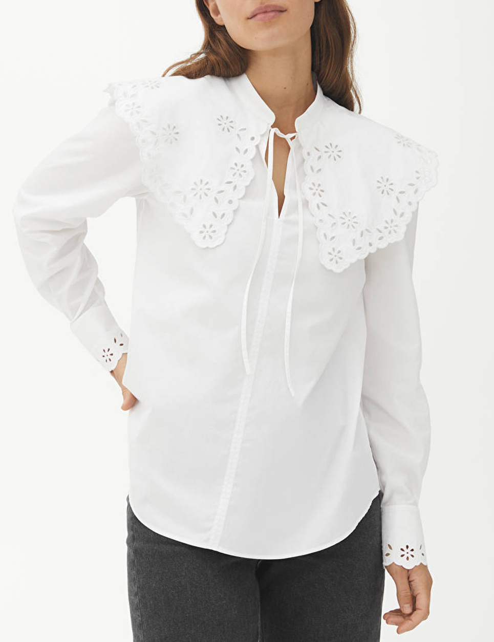 white embroided collar blouse