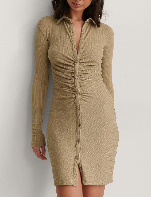 knit rouched butto dress