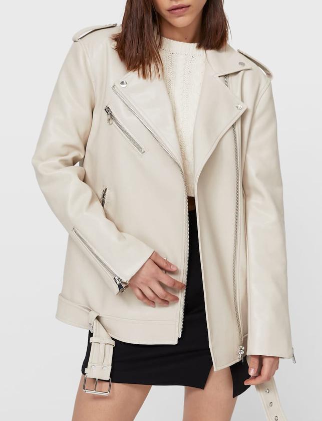 cream biker jacket woman