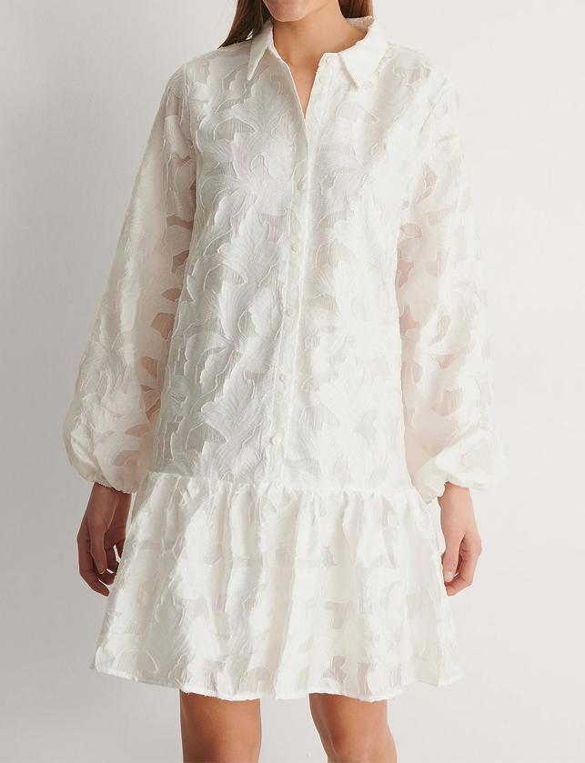 cream ballon sleeve dress