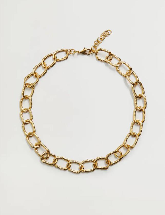 gold pleated necklace mango