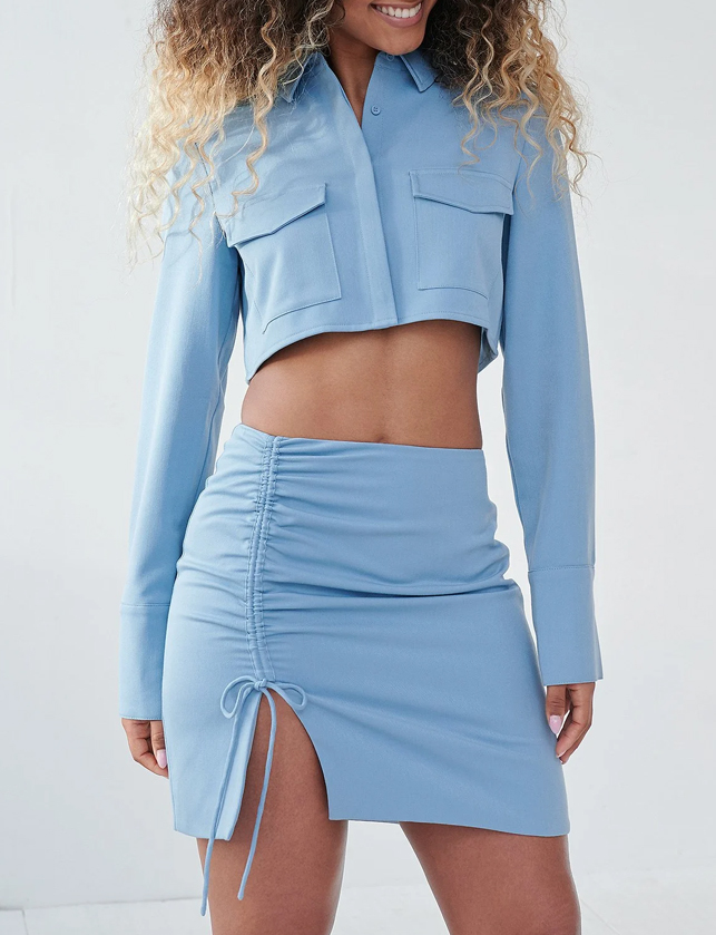 blue skirt and shirt co ord