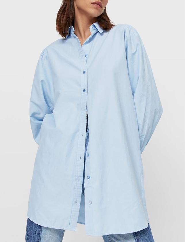 blue poplin shirt stradivarius 2021