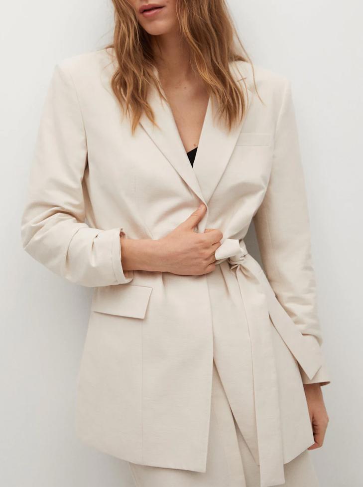 beige belted blazer