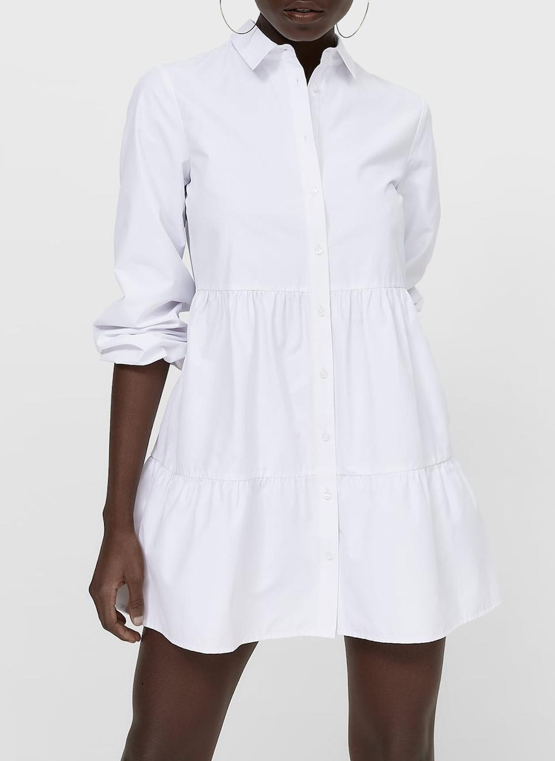 white shirt poplin dress