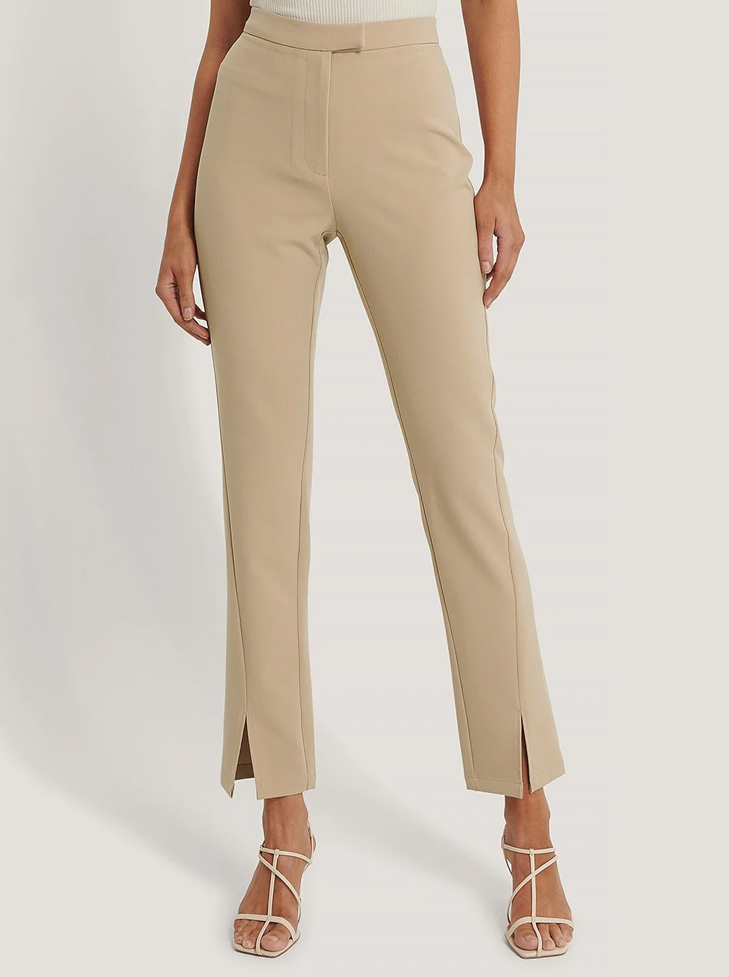 beige cigarette trousers