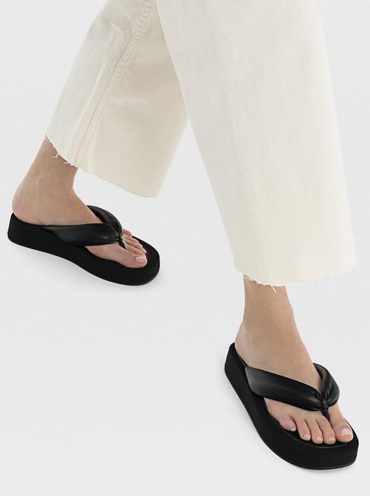 padded black platform sandals