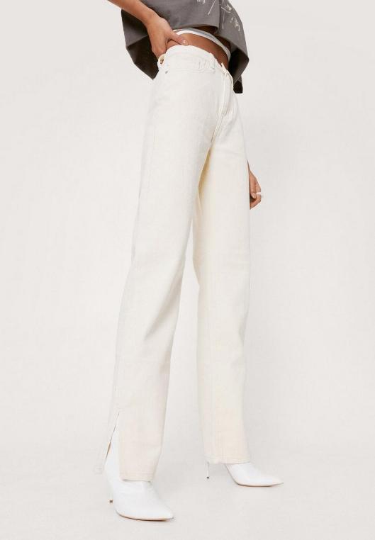 white straight leg jeans with slit