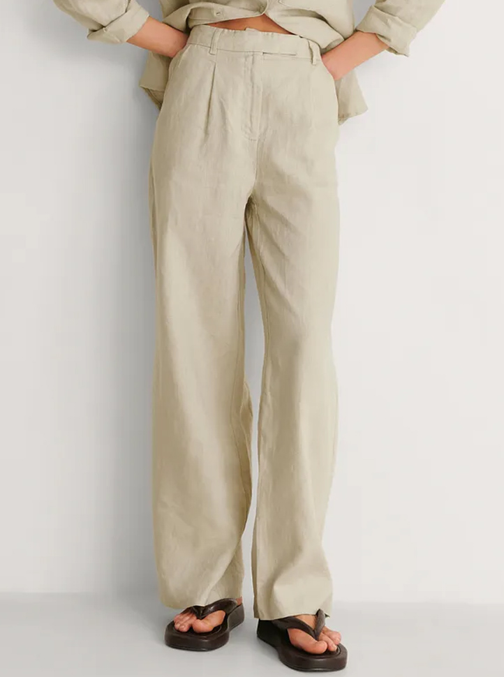 green linen wide leg trousers