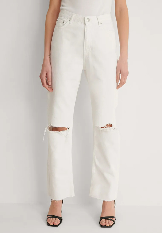 white ripped wide leg jeans