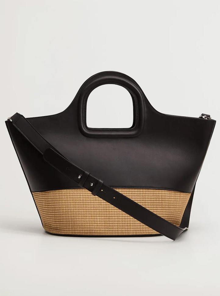 black straw - leather bag