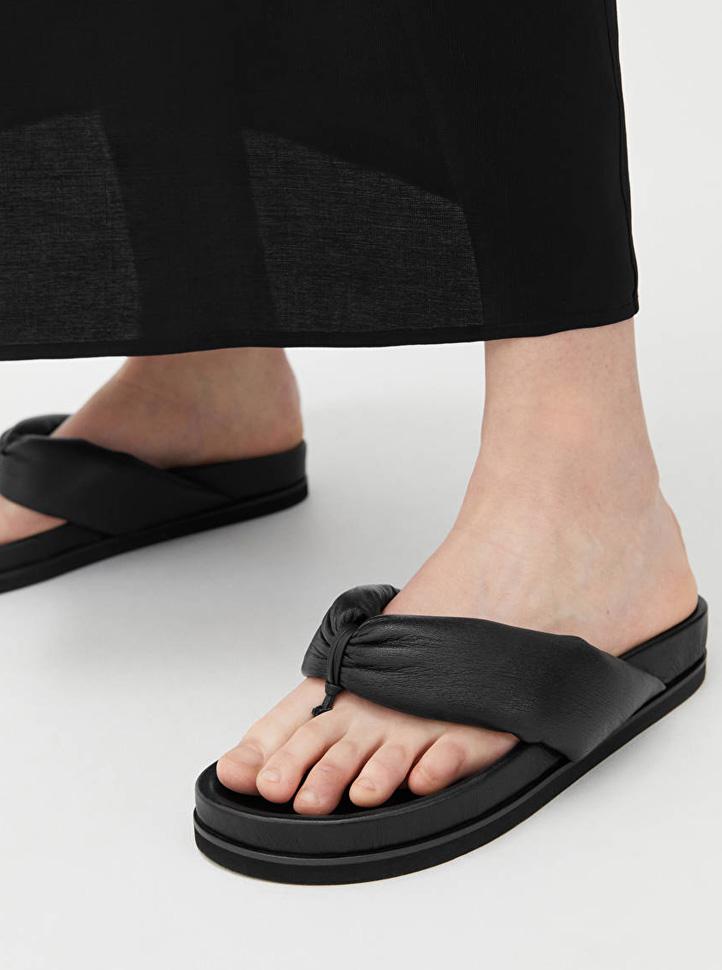 black thong leather slides
