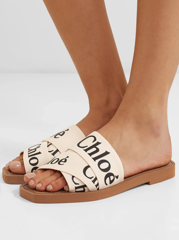 chloe woody sandals beige