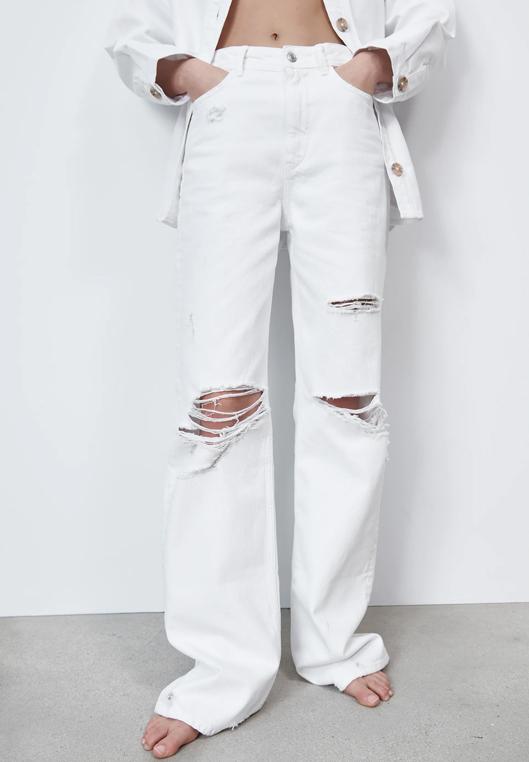 white wide leg ripped jeans zara