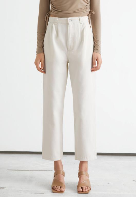 white high waist straight jeans