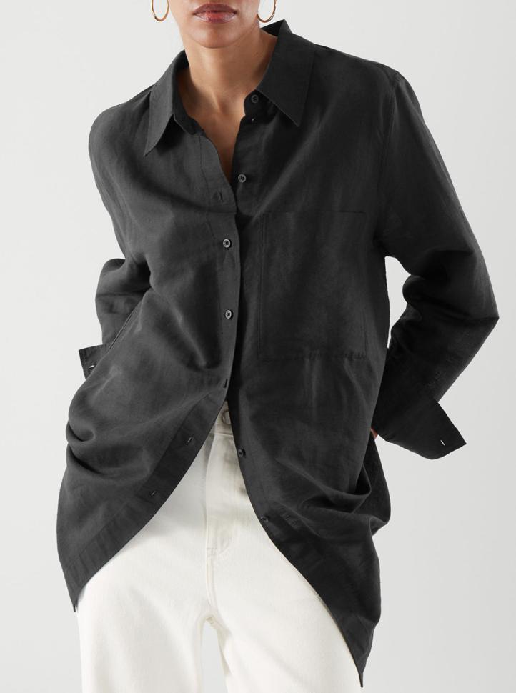 black oversized linen shirt woman