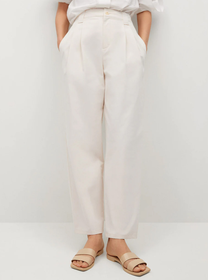 beige straight trousers