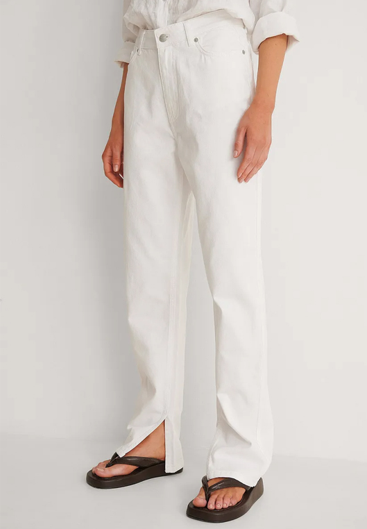 white straight jeans with slit