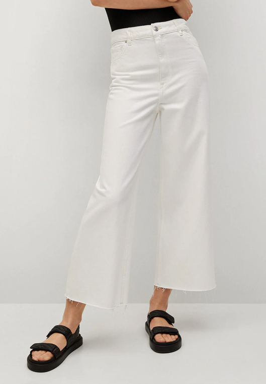 white cullote jeans mango