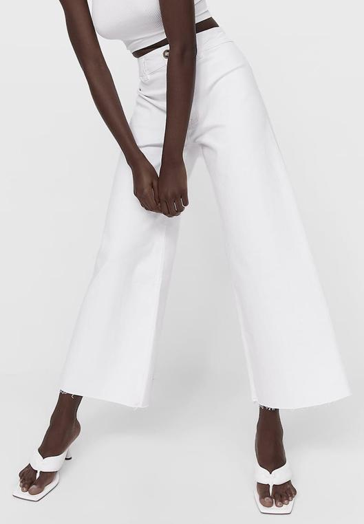 twill culottes white stradivarius