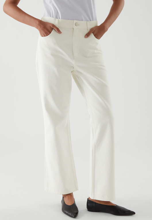 white flare jeans cos