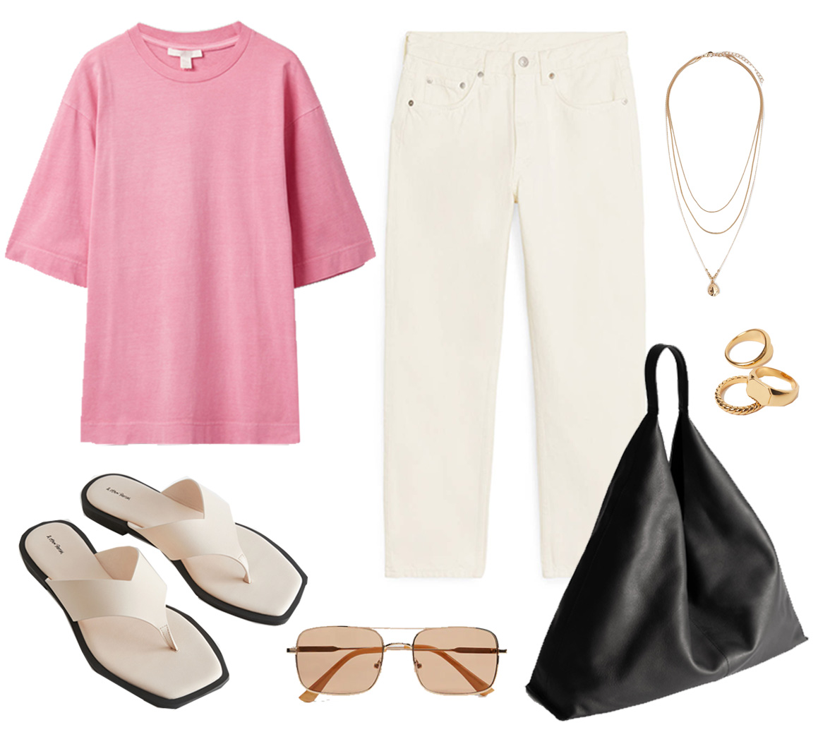 pink t-shirt outfit ideas 2021