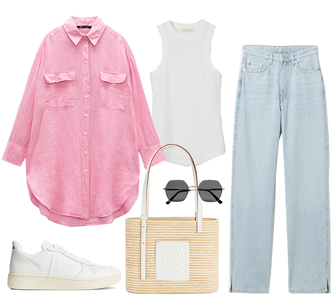 pink zara shirt outfit