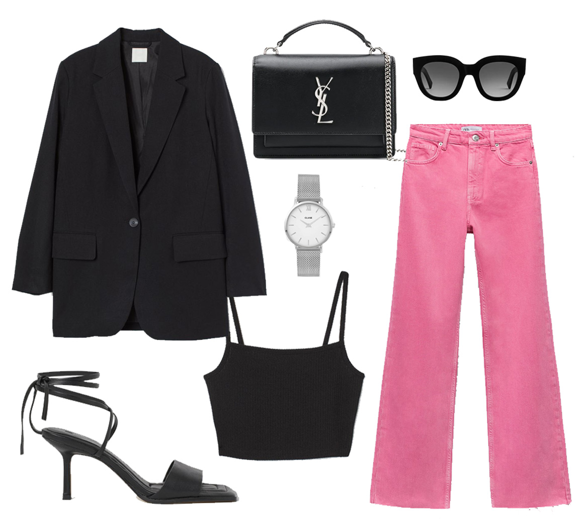 zara pink jeans outfit
