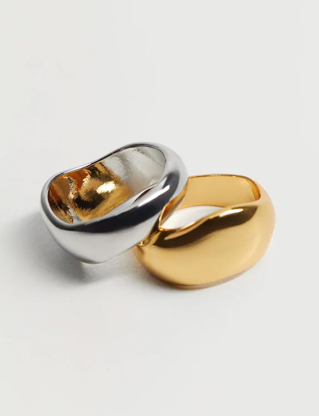 silver and gold ring set