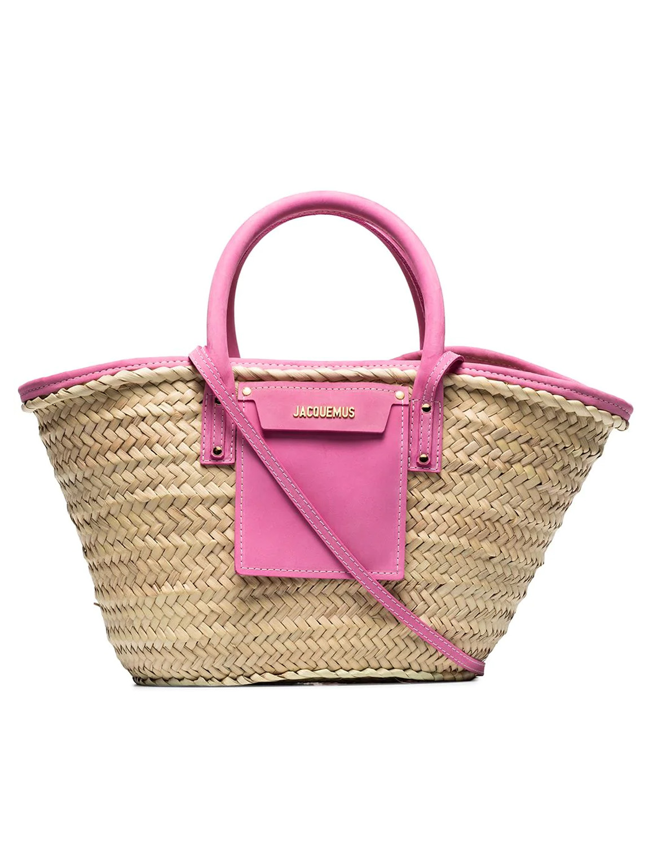 jacquemus pink raffia bag