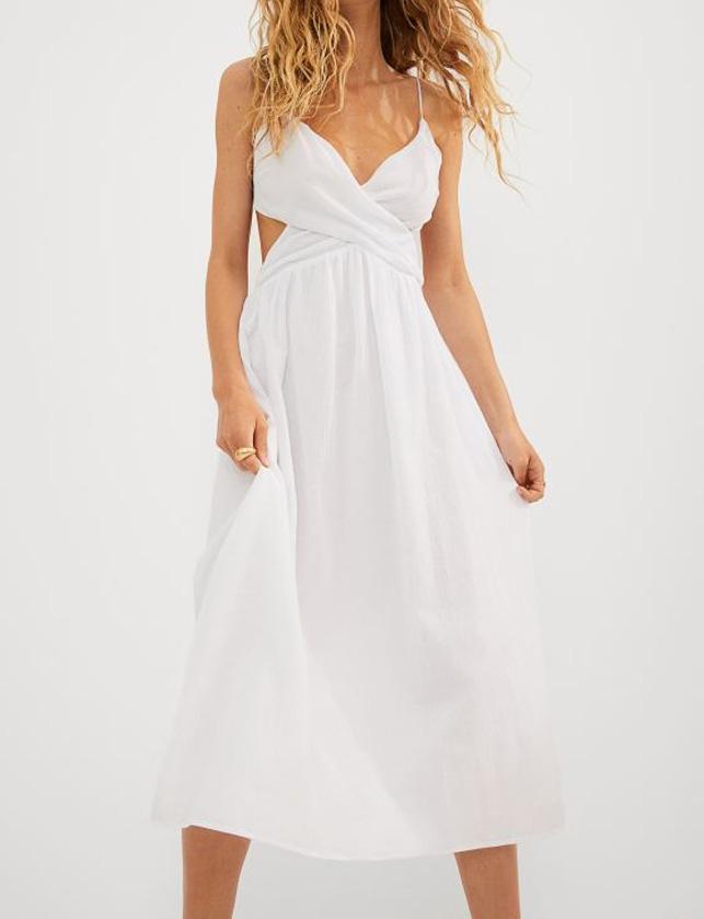 white cut out midi dress summer 2021