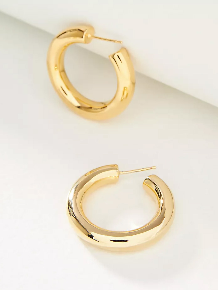 gold hoop chunky earrings