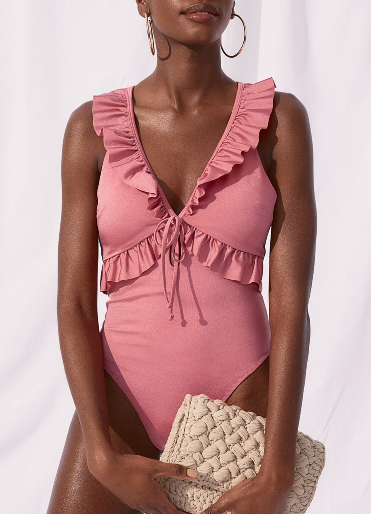 pink frill swimsuit