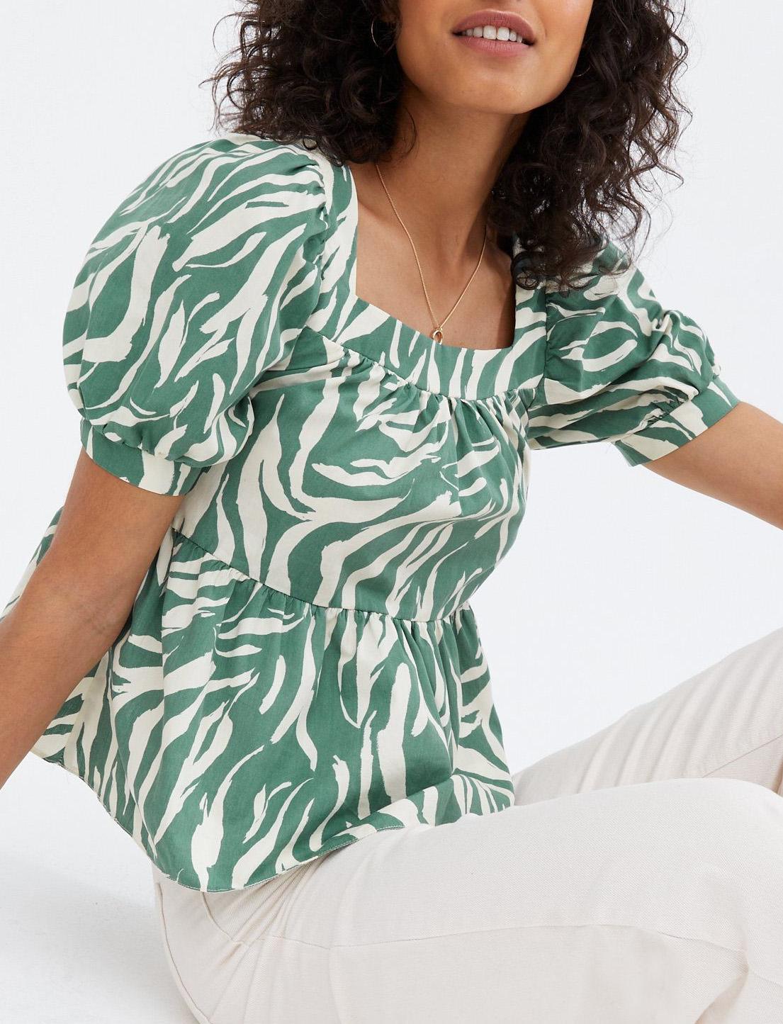 green zebra print top