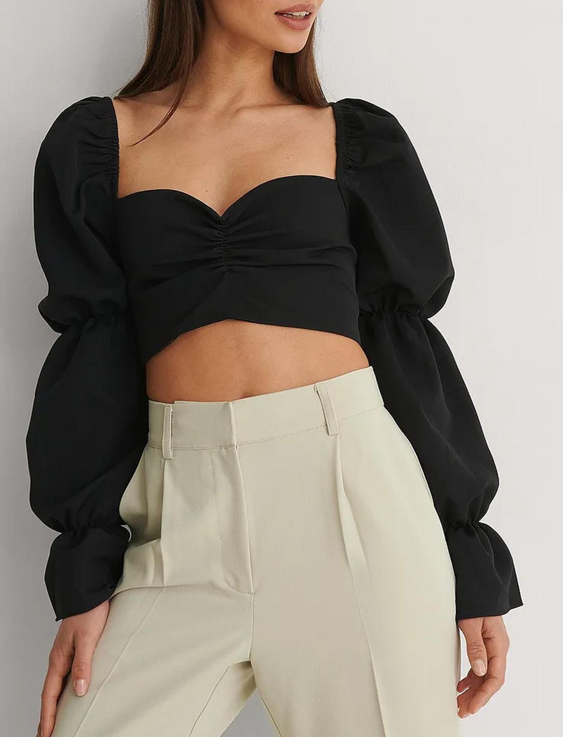 black crop top puff sleeves
