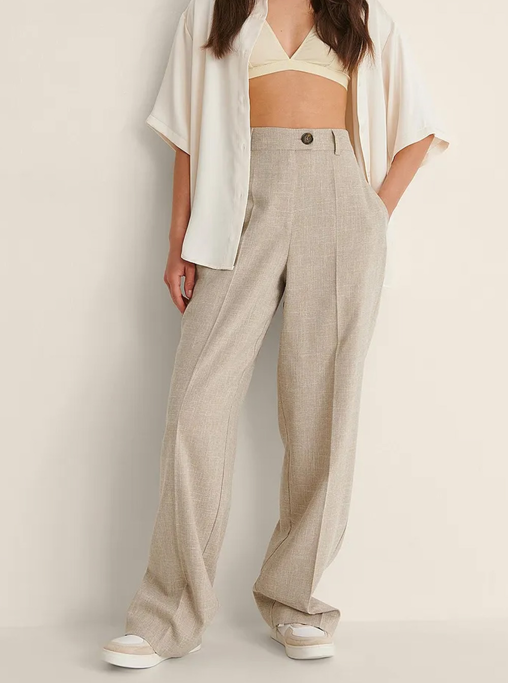 beige linen wide leg trousers