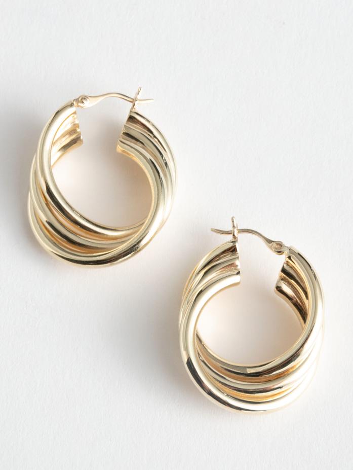 gold chunky hoops earrings