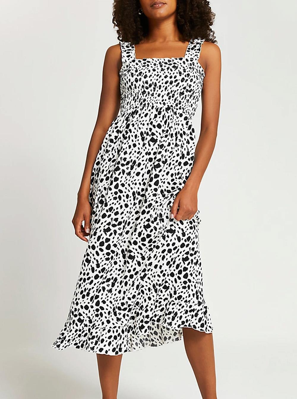 zebra print black and white dress