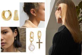 gold minimalistic earrings 2021